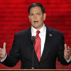 FILE - In this Aug. 30, 2012, file photo, Florida Sen. Marco Rubio addresses the Republican National Convention in Tampa, Fla. The Hispanics with the highest profiles in this year's political conventions stand as opposites in a cultural and political split that has divided millions of U.S. Latinos for decades. Cuban American Rubio introduced Mitt Romney at the GOP convention. San Antonio Mayor Julian Castro, a Mexican-American, delivered the Democrats' keynote speech in Charlotte, N.C. They are often lumped together as Hispanics. But Rubio and Castro are emblematic of acute political distinctions between Cuban-Americans and Mexican-Americans.