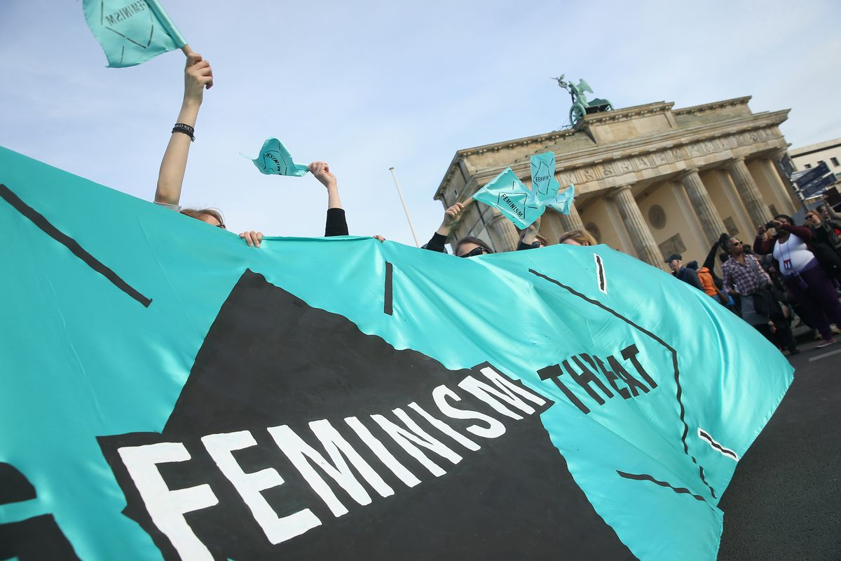A 2015 International Women's Day protest in Berlin, Germany