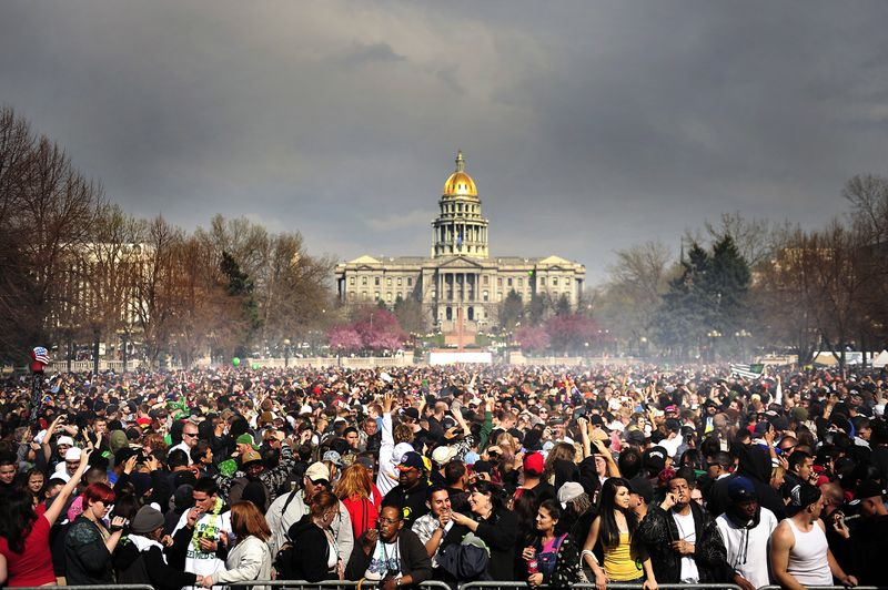 A 4/20 smoke-out in front of the Colorado state capitol.
