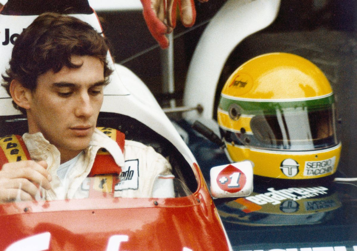 Ayrton Senna in his car.
