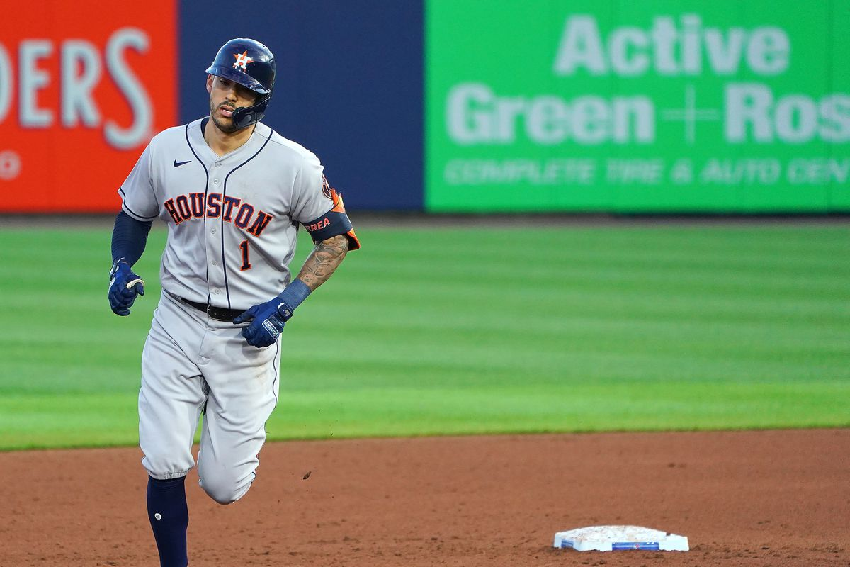 Carlos Correa of the Houston Astros hits a home run against the Toronto Blue Jays during the fifth inning at Sahlen Field on June 4, 2021 in Buffalo, New York.