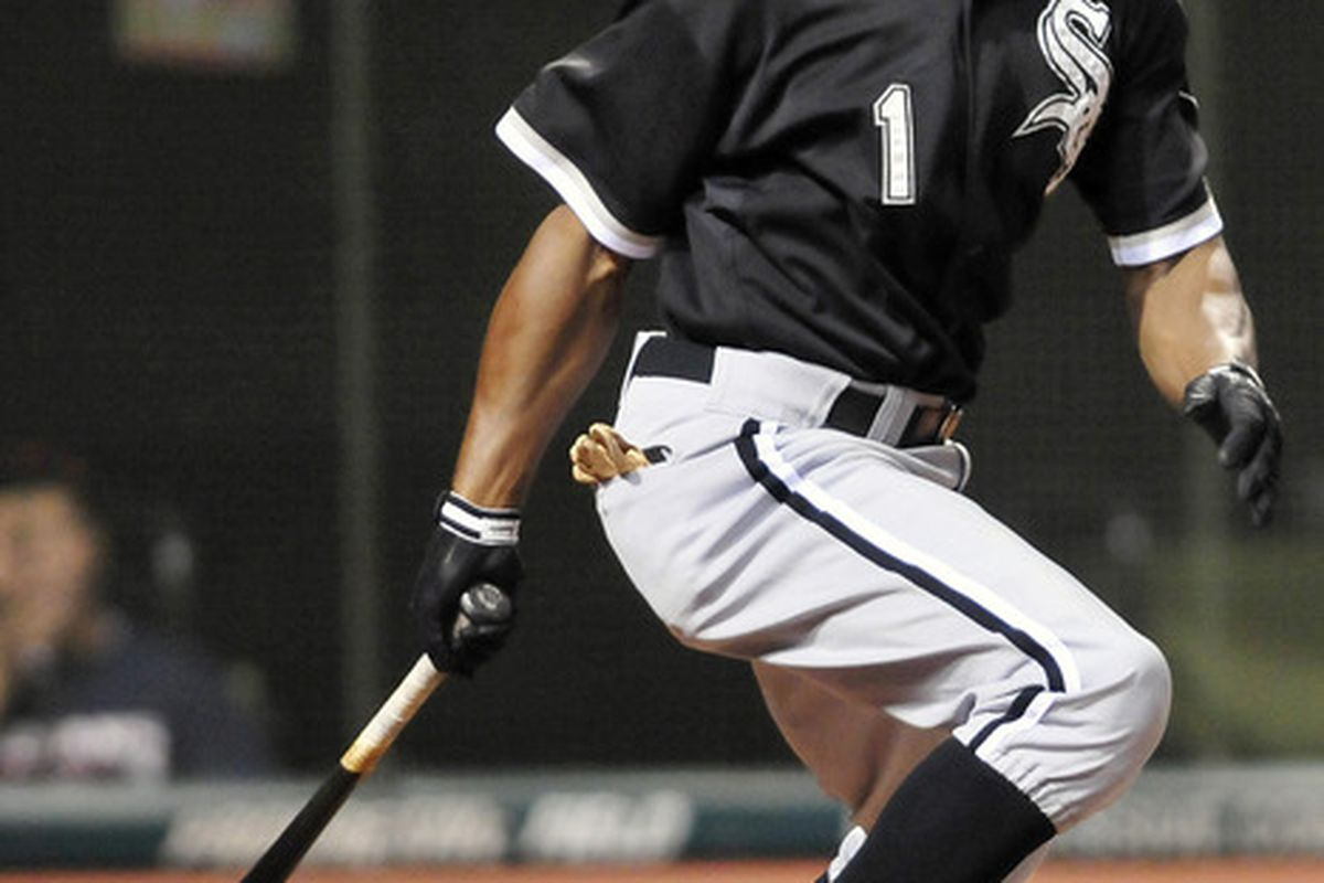 CLEVELAND, OH - SEPTEMBER 22: Juan Pierre #1 of the Chicago White Sox hits a two RBI single during the fifth inning against the Cleveland Indians at Progressive Field on September 22, 2011 in Cleveland, Ohio. (Photo by Jason Miller/Getty Images)