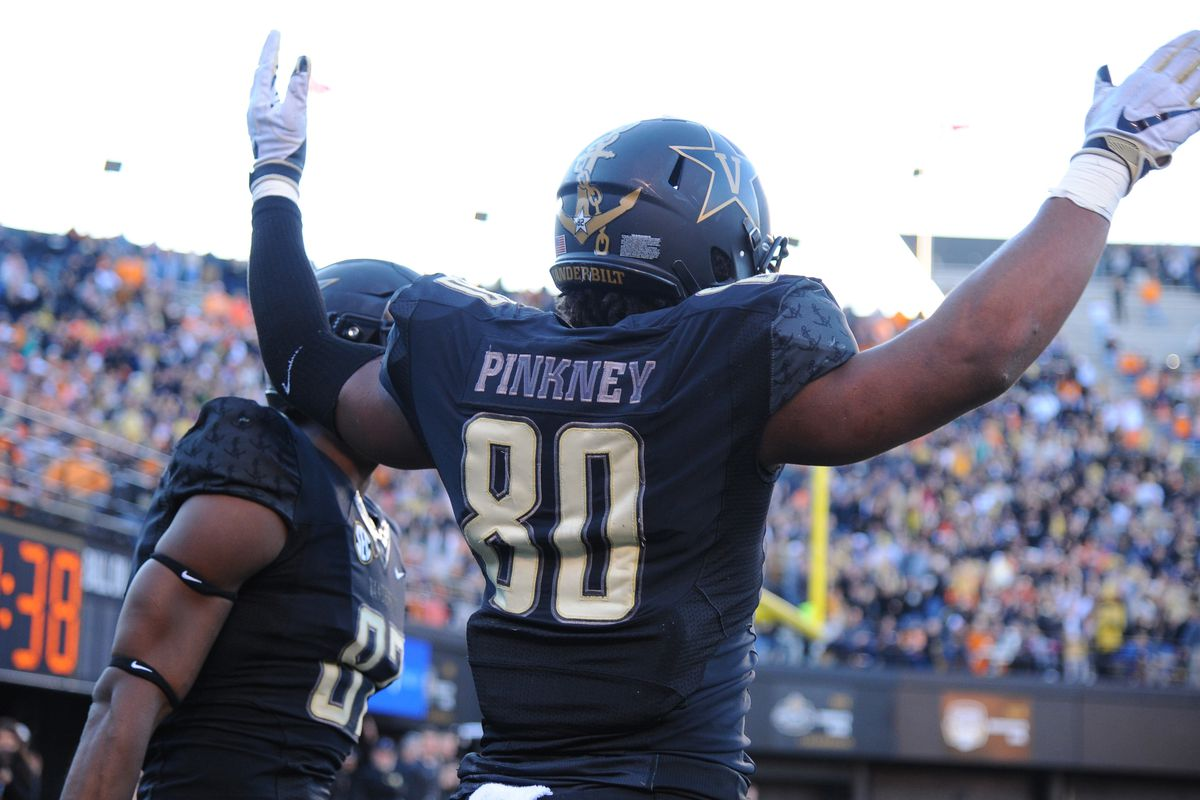 Vanderbilt Commodores tight end Jared Pinkney celebrates after a touchdown during the first half against the Tennessee Volunteers at Vanderbilt Stadium.