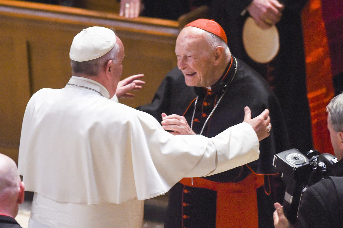 Francis accepted McCarrick's resignation in July 2018 amid allegations of  sexual abuse. Jonathan Newton-Pool/Getty Images