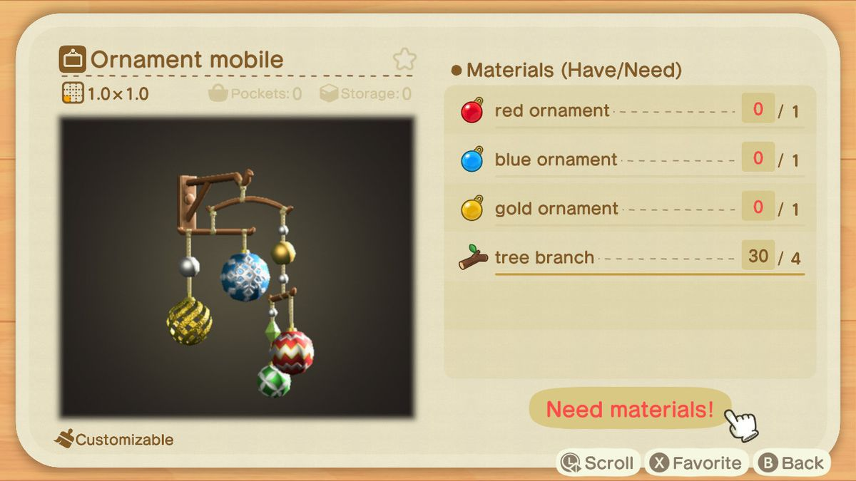 An Animal Crossing recipe for an Ornament Mobile