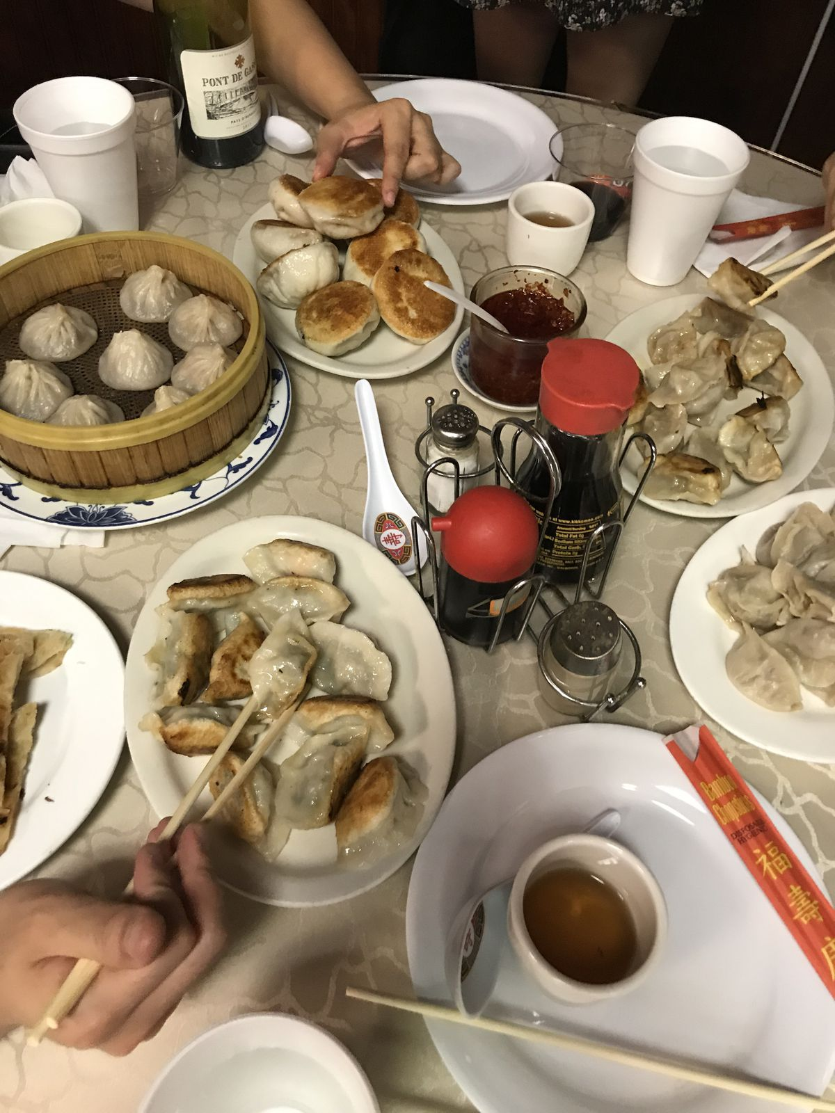 A table filled with dumplings at Northern China Eatery in Doraville, GA
