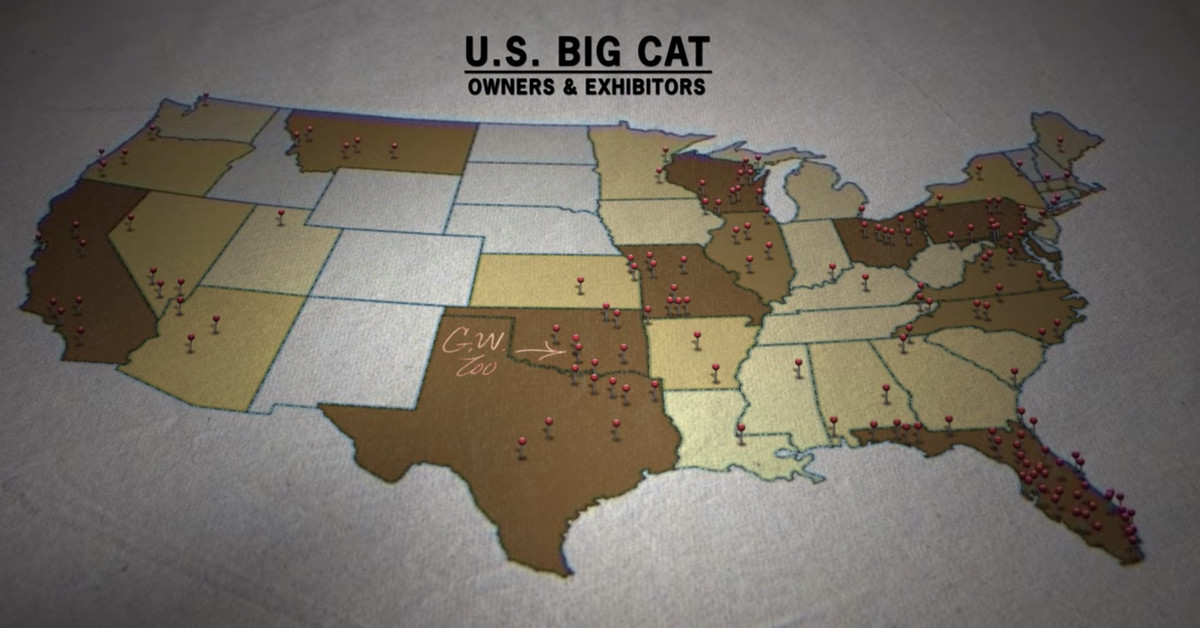 "A screenshot of a big cat exhibtor map seen in ""Tiger King."""