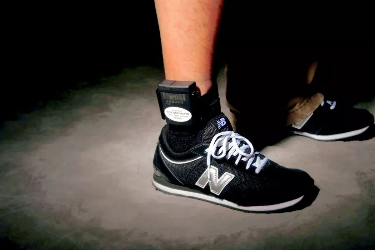Electronic monitoring relies on an ankle bracelet, like this one from Kane County in 2009.