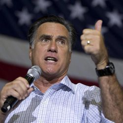 Republican presidential candidate, former Massachusetts Gov. Mitt Romney gestures as he speaks during a campaign rally, Wednesday, Sept. 26, 2012, in Westerville, Ohio.