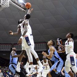 UConn's Mamadou Diarra (21) & Terry Larrier (22) during the Columbia Lions vs UConn Huskies men's college basketball game at Gampel Pavilion in Storrs, CT on November 29, 2017.