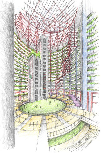 """A proposal from Eastman Lee Architects imagines the Thompson Center as a """"vertical Loop"""" with a mix of uses."""