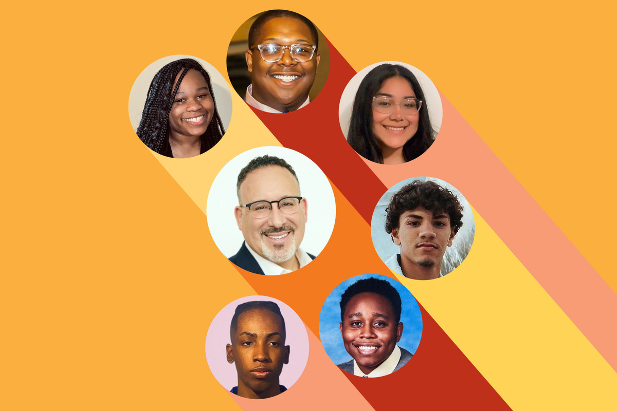 (Clockwise from top left) Portraits of Chinaya Mason, Trey Cunningham, Elizabeth Jaramillo, Joaquin Martinez, Kenneth Usoh, Zadane Russell and Secretary of Education Miguel Cardona sit within mulit-colored bubbles in a promotional graphic.