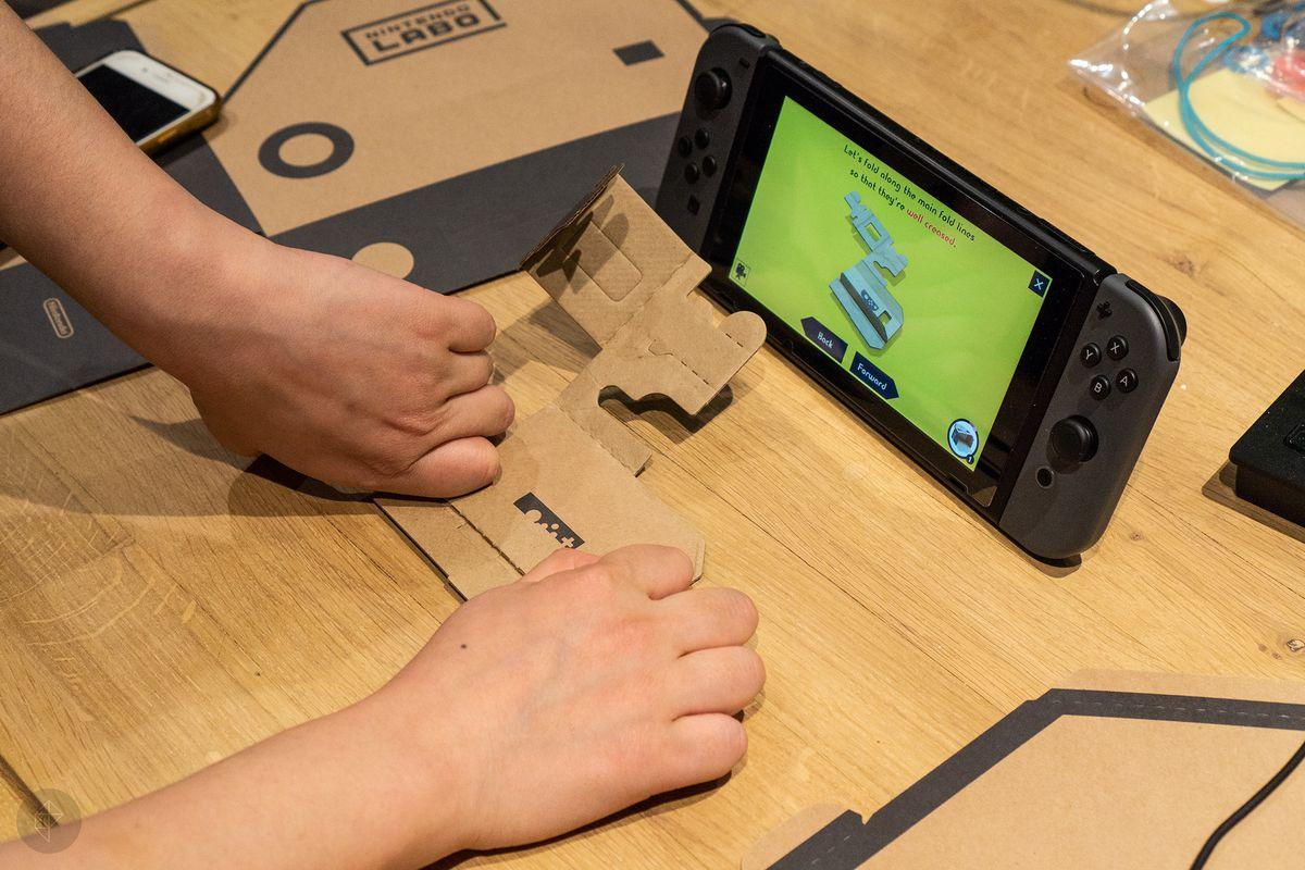 Nintendo Labo - following the folding instructions for the piano