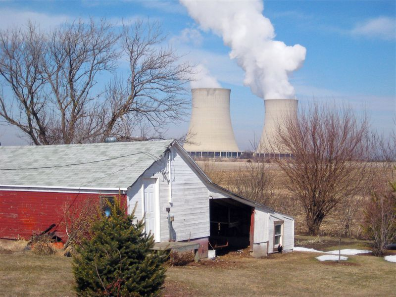 Steam rises from the cooling towers at Exelon's Byron nuclear power plant in 2011.