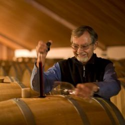 Paul Draper, one of the great icons of modern American winemaking in his Montebello cellars, Santa Cruz Mountains, CA.
