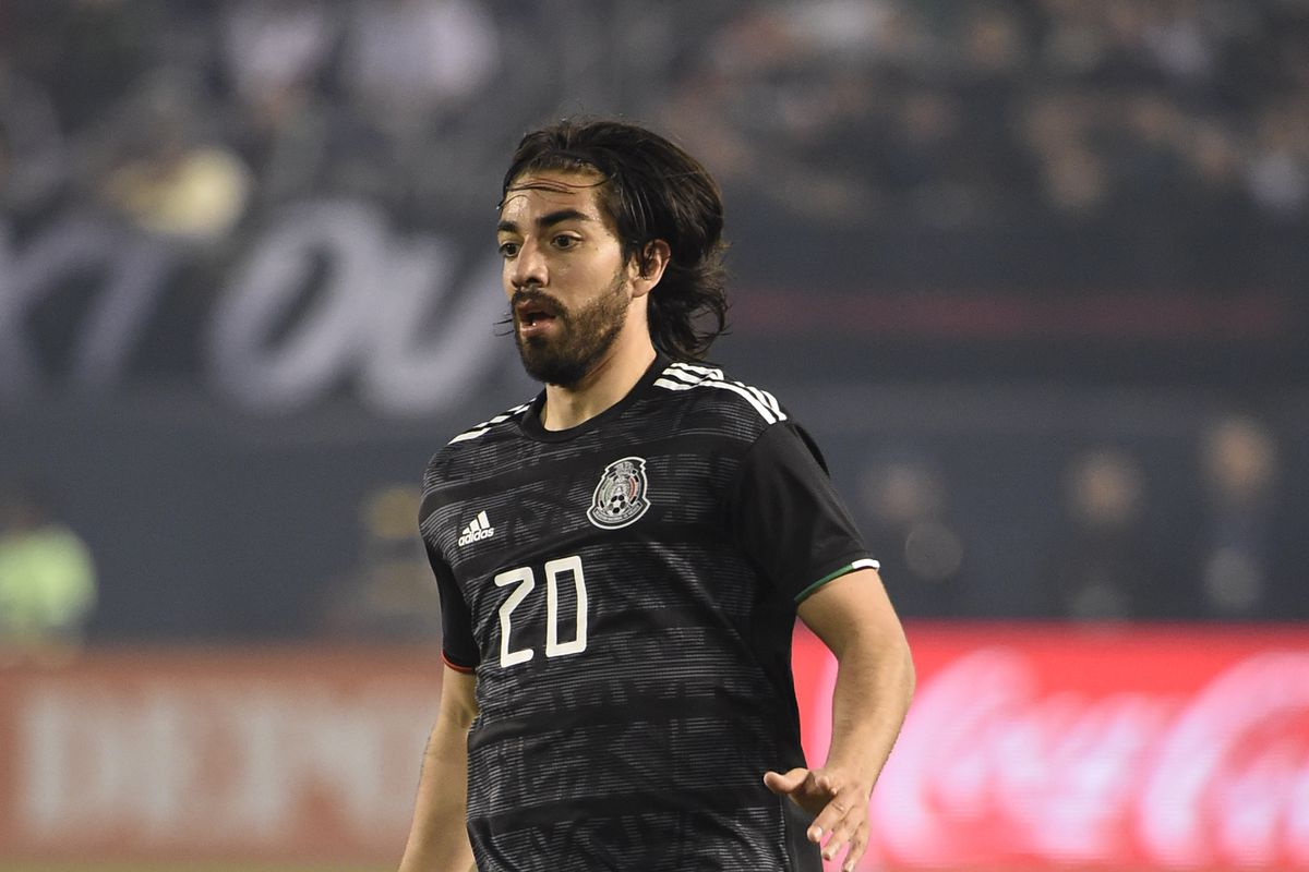 Rodolfo Pizzaro of Mexico in position during the International Friendly match between Mexico and Chile at Qualcomm Stadium on March 22, 2019 in San Diego, California.