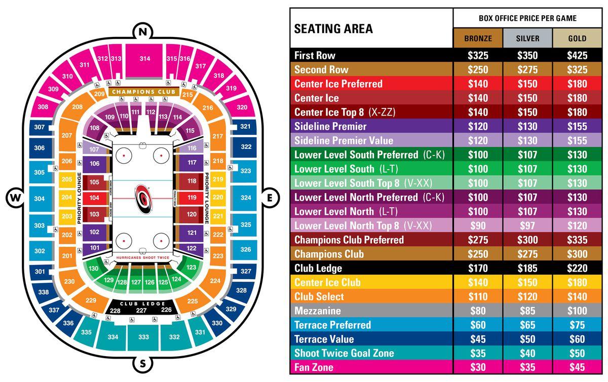 Carolina Hurricanes seating chart / prices