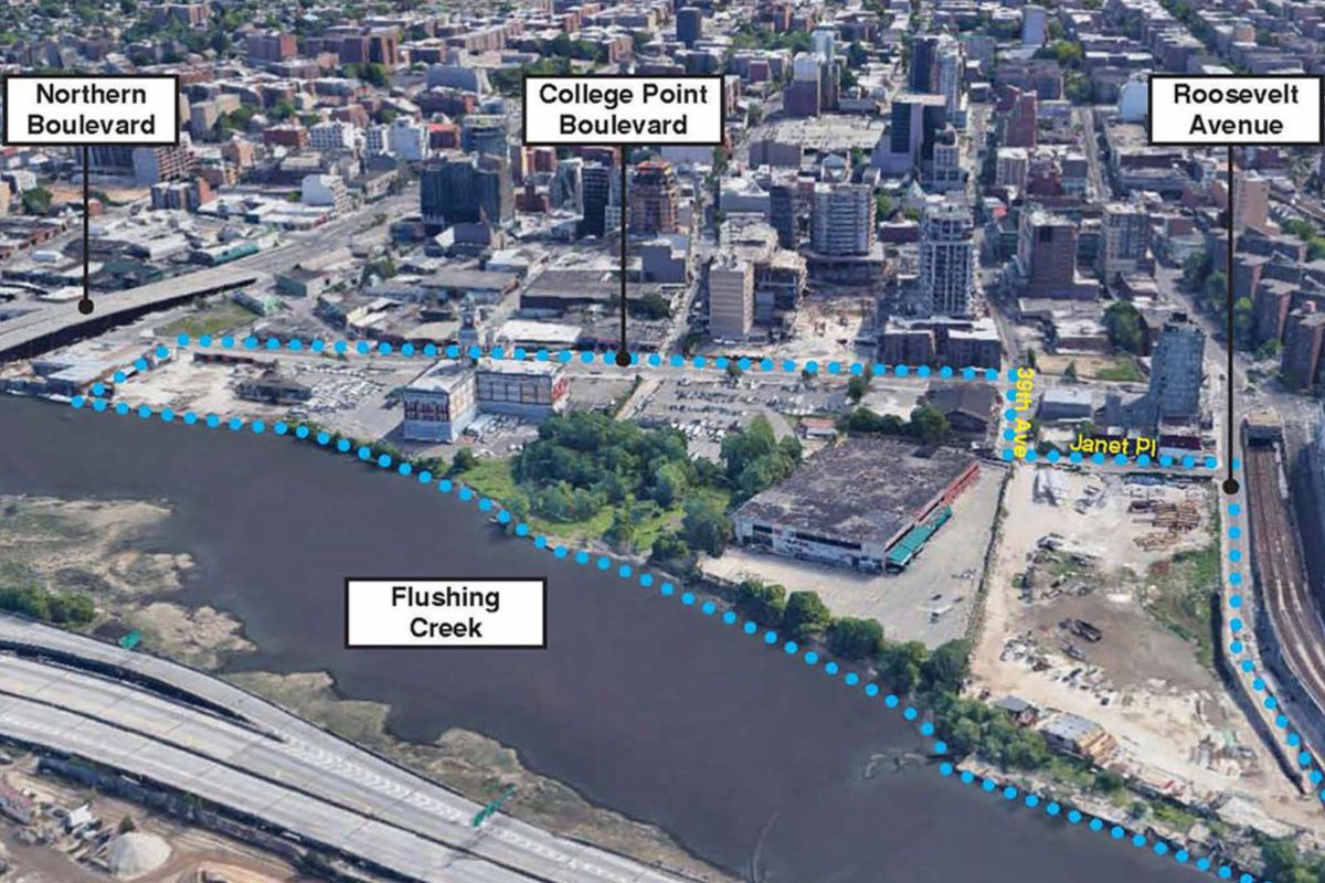 A map shows the area of the proposed Flushing Special Waterfront District.