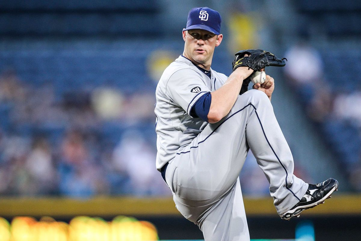 August 13, 2012; Atlanta, GA, USA; San Diego Padres starting pitcher Eric Stults (53) pitches in the third inning against the Atlanta Braves at Turner field. Mandatory Credit: Daniel Shirey-US PRESSWIRE