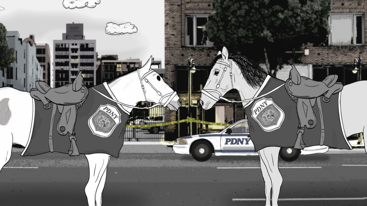 Two police horses talking to each other.