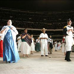 Young LDS Mexican actors depict the fight for Mexico's independence during the LDS cultural event in Mexico City on Sunday.