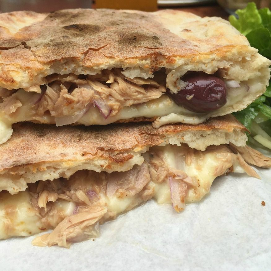 Best cheese toasties in London: tuna and olive cheese panuozzo at Theo's