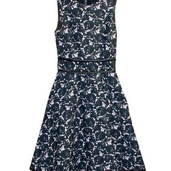 """Sleeveless Bonded Dress with Full Skirt, $410 at <a href=""""http://www.cynthiarowley.com/dresses/sleevless-bonded-dress-full-skirt.html?color=Navy+Confetti&size=0""""> Cynthia Rowley</a>."""