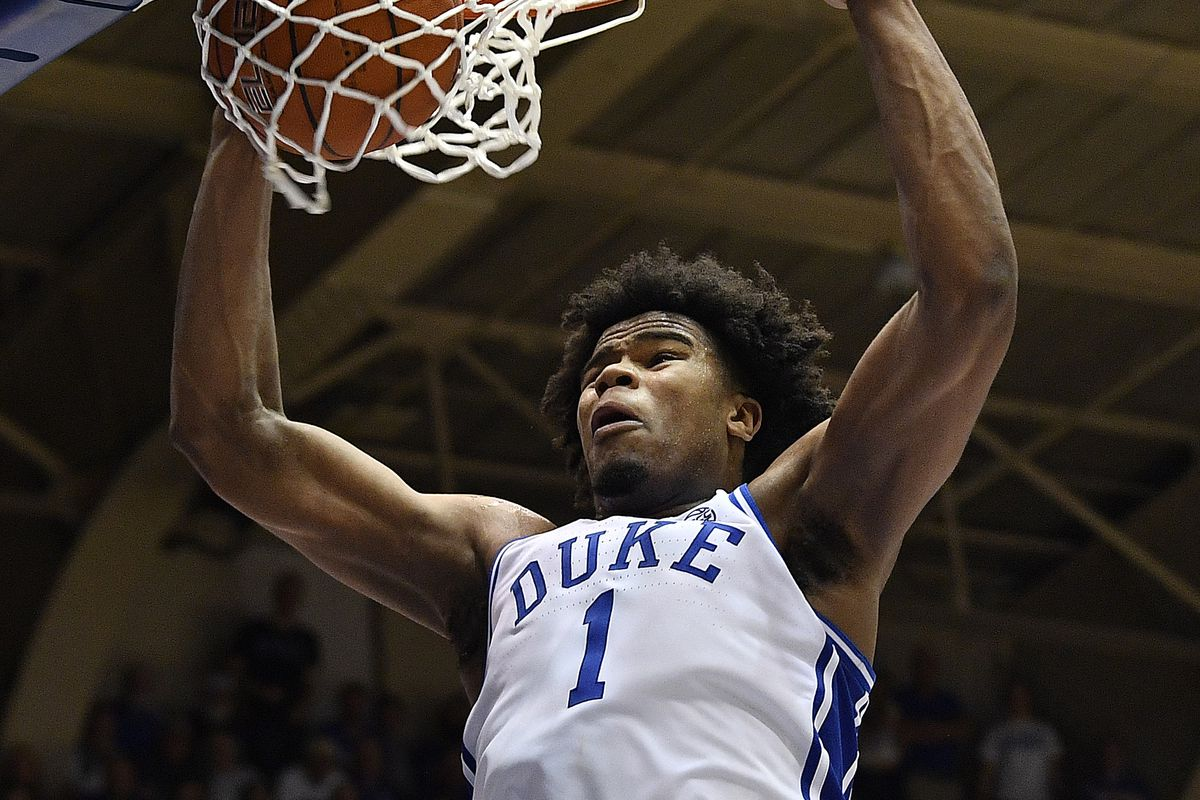 Vernon Carey Jr. of the Duke Blue Devils dunks against the North Carolina Tar Heels during the second half of their game at Cameron Indoor Stadium on March 07, 2020 in Durham, North Carolina. Duke won 89-76.