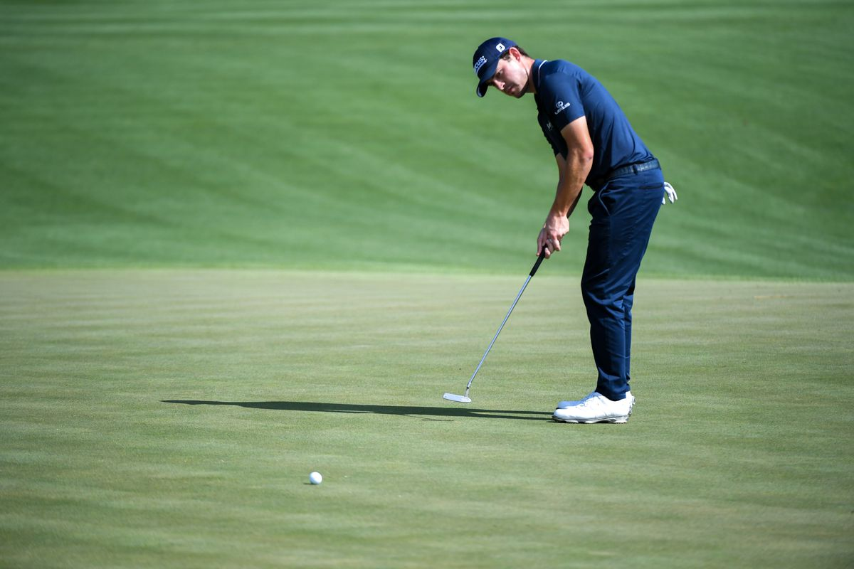 Patrick Cantlay putts on the 2nd green during the first round of the 2020 edition of The Players Championship golf tournament at TPC Sawgrass - Stadium Course.