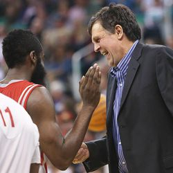 Houston Head Coach, Kevin McHale shares a laugh with player James Harden as the Jazz and the Rockets play Saturday, Nov. 2, 2013 in EnergySolutions arena. Jazz lost 104-93.