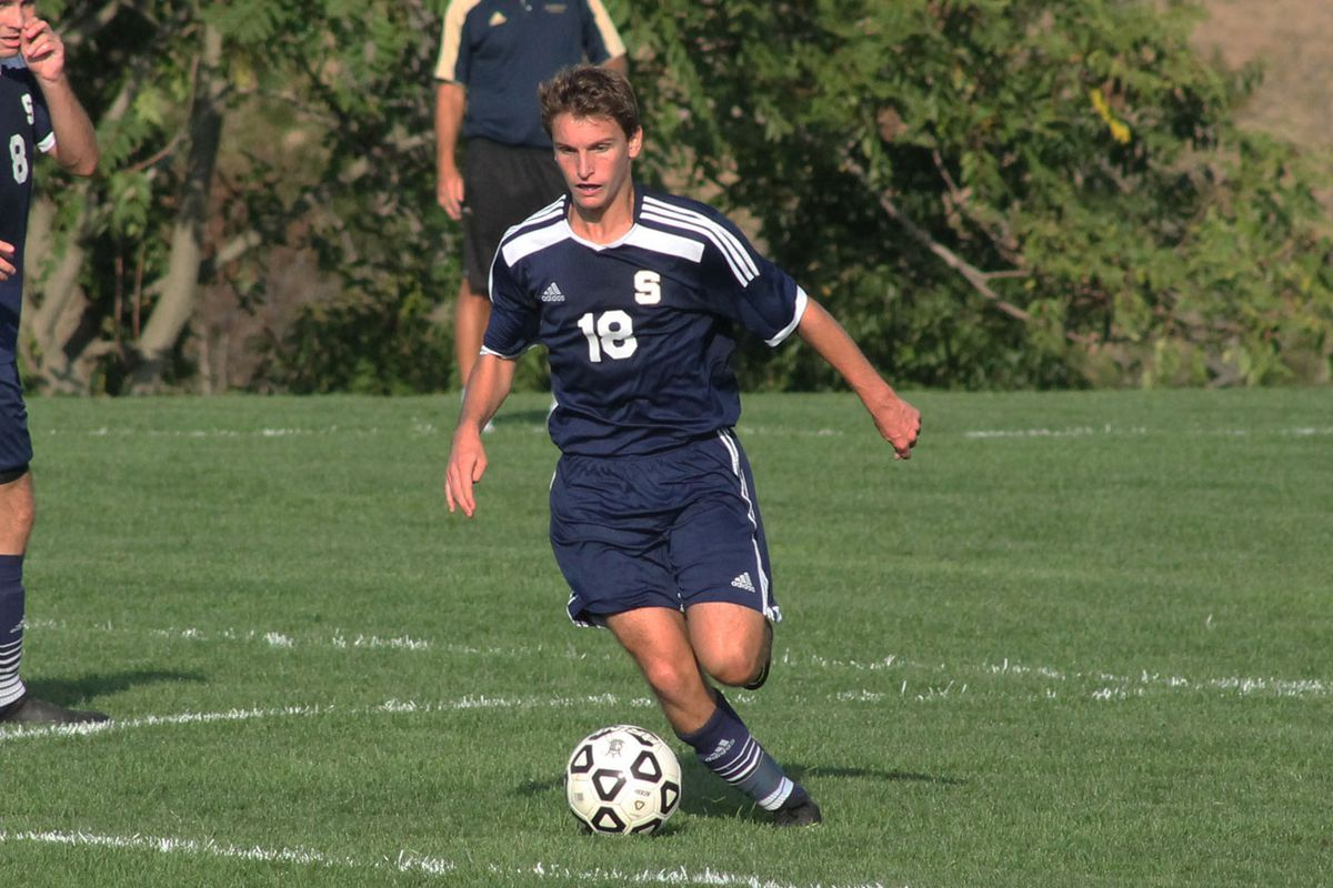 Salesianum forward Bryce Wallace (middle) controls the ball in the first half against Kingsway (N.J.) on October 3, 2016. Wallace had a goal and four assists in the 10-2 win.