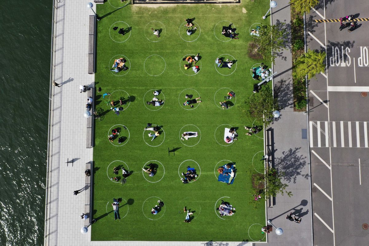 An aerial photo shows people sitting in white circles in a park.