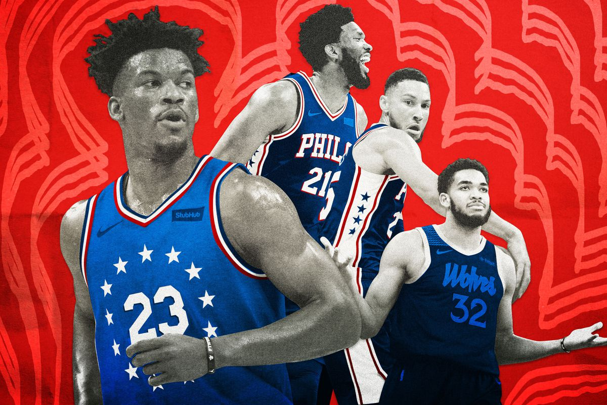 Jimmy Butler, with Joel Embiid, Ben Simmons, and Karl-Anthony Towns in the background