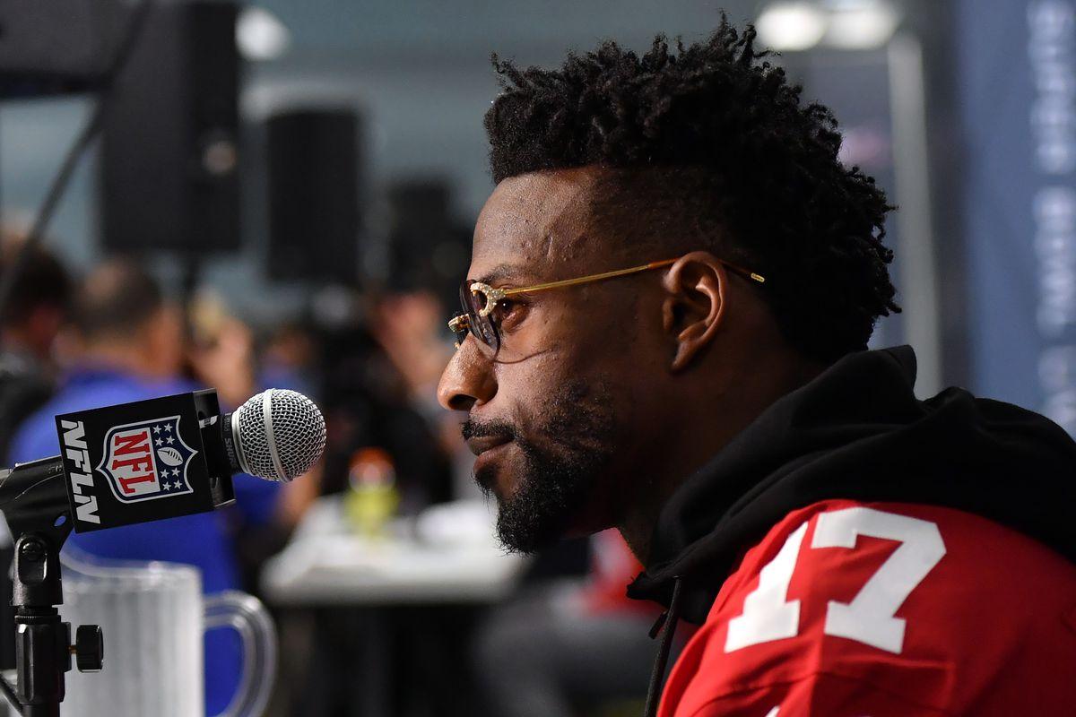 San Francisco 49ers wide receiver Emmanuel Sanders address members of the media at Hyatt Regency in Miami.