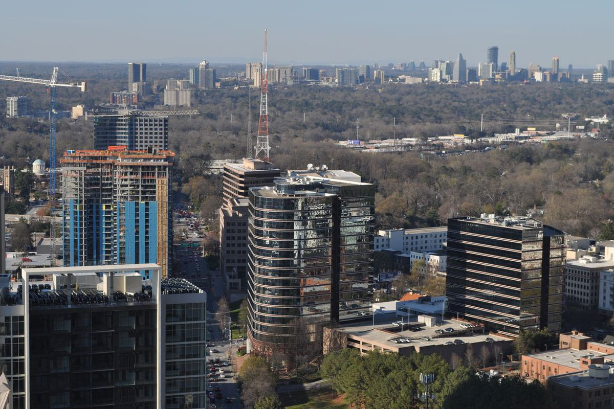 A northward view, toward Buckhead and Sandy Springs, from Midtown's new Icon tower in March.
