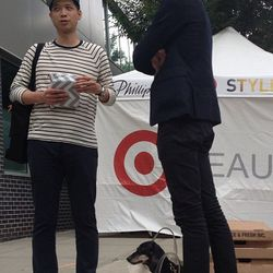 """<a href=""""http://web.stagram.com/p/531886983740855142_2825451"""">zabethryan</a> Dogs in bags. Lines and stripes. Target. #philliplimfortarget @gigiguerra1"""