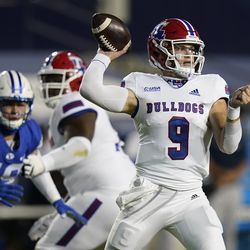 Louisiana Tech quarterback Luke Anthony (9) throws a pass during the first half of the team's NCAA college football game against BYU on Friday, Oct. 2, 2020, in Provo.
