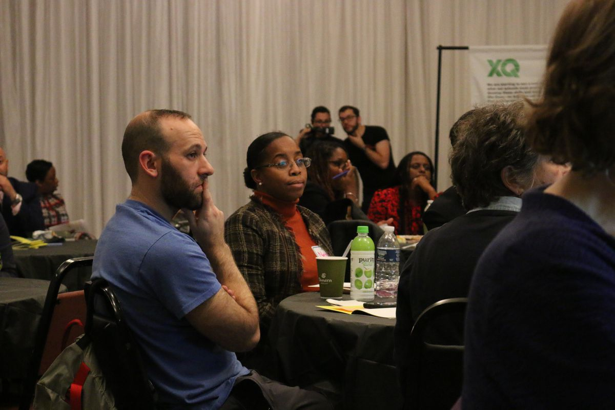 Educators gathered at an information session about the city's Imagine Schools initiative.