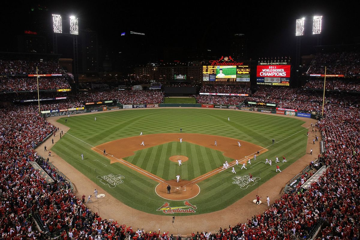The St. Louis Cardinals and their home fans celebrate winning Game 7 of the 2011 World Series.