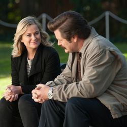 """Amy Poehler as Leslie Knope, left, and Nick Offerman as Ron Swanson in """"Parks and Recreation."""""""