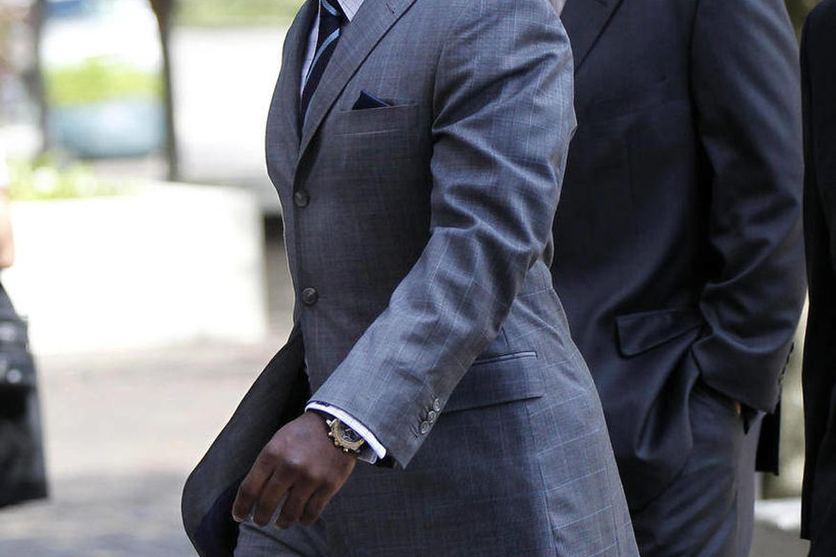 FILE - In this July 26, 2012, file photo, New Orleans Saints linebacker Jonathan Vilma arrives to testify at Federal Court  in New Orleans. The suspensions of Vilma and three other players in the NFL's bounty investigation were lifted Friday, Sept. 7, 201