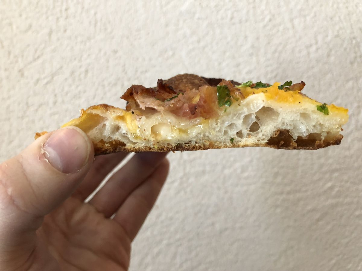 Squash pizza with pancetta