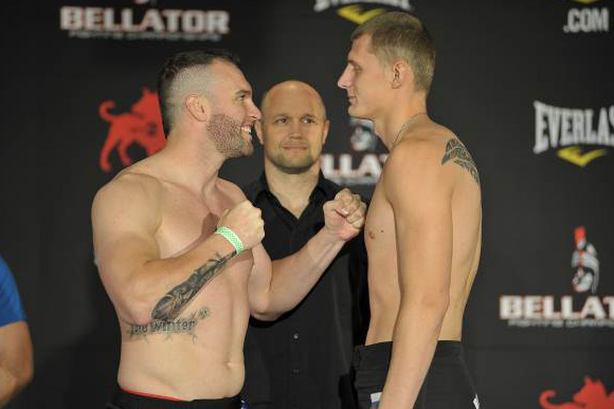 Richard Hale (left) stares down Russian Alexander Volkov (right) at the Bellator 84 weigh-ins yesterday