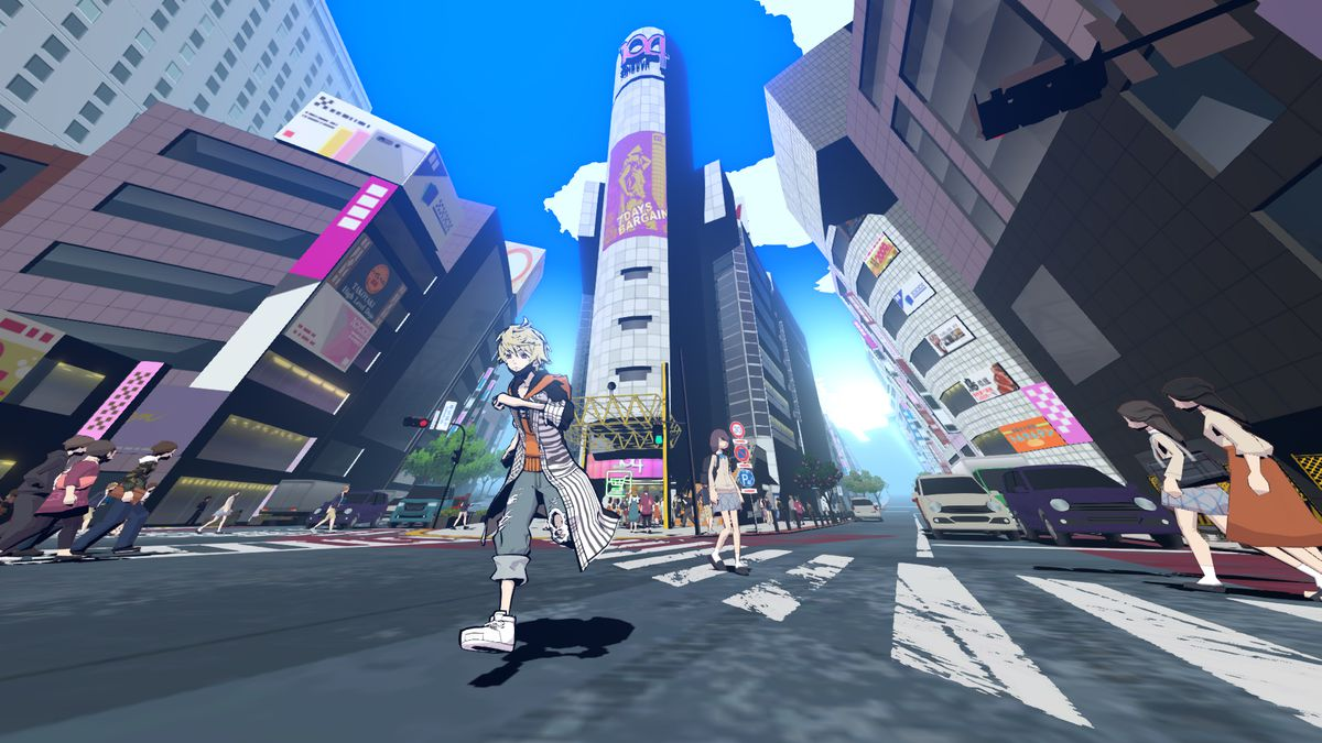 A character runs through Shibuya in a screenshot from Neo: The World Ends With You