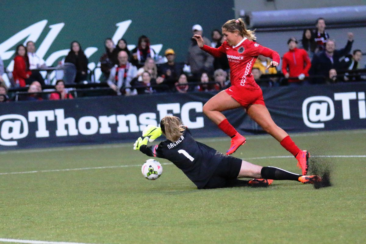 Alllie Long is closed down as she goes to goal against the Boston Breakers