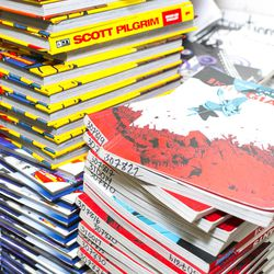 A selection of comics in Eric Kallenborn's classroom at Alan B. Shepard High School in Palos Hills, Illinois. Kallenborn is a founding member of Comic Education Outreach with fellow teacher Ronell Whitaker, which is partnered with the Denver-based Pop Culture Classroom program.