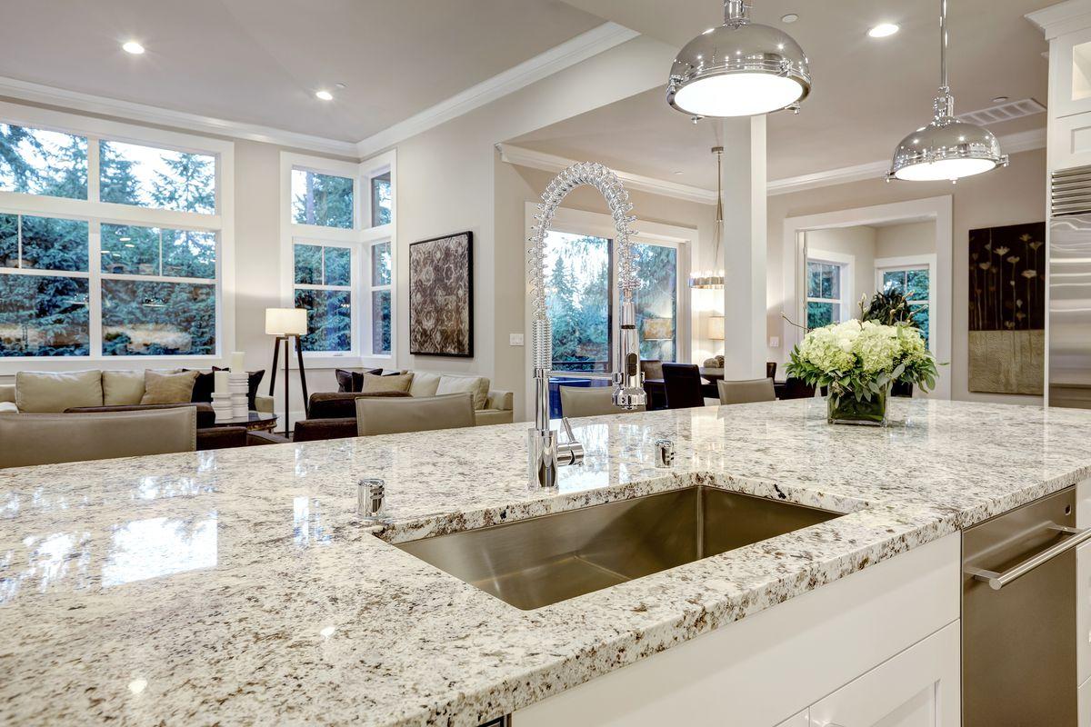 Granite countertop in kitchen.