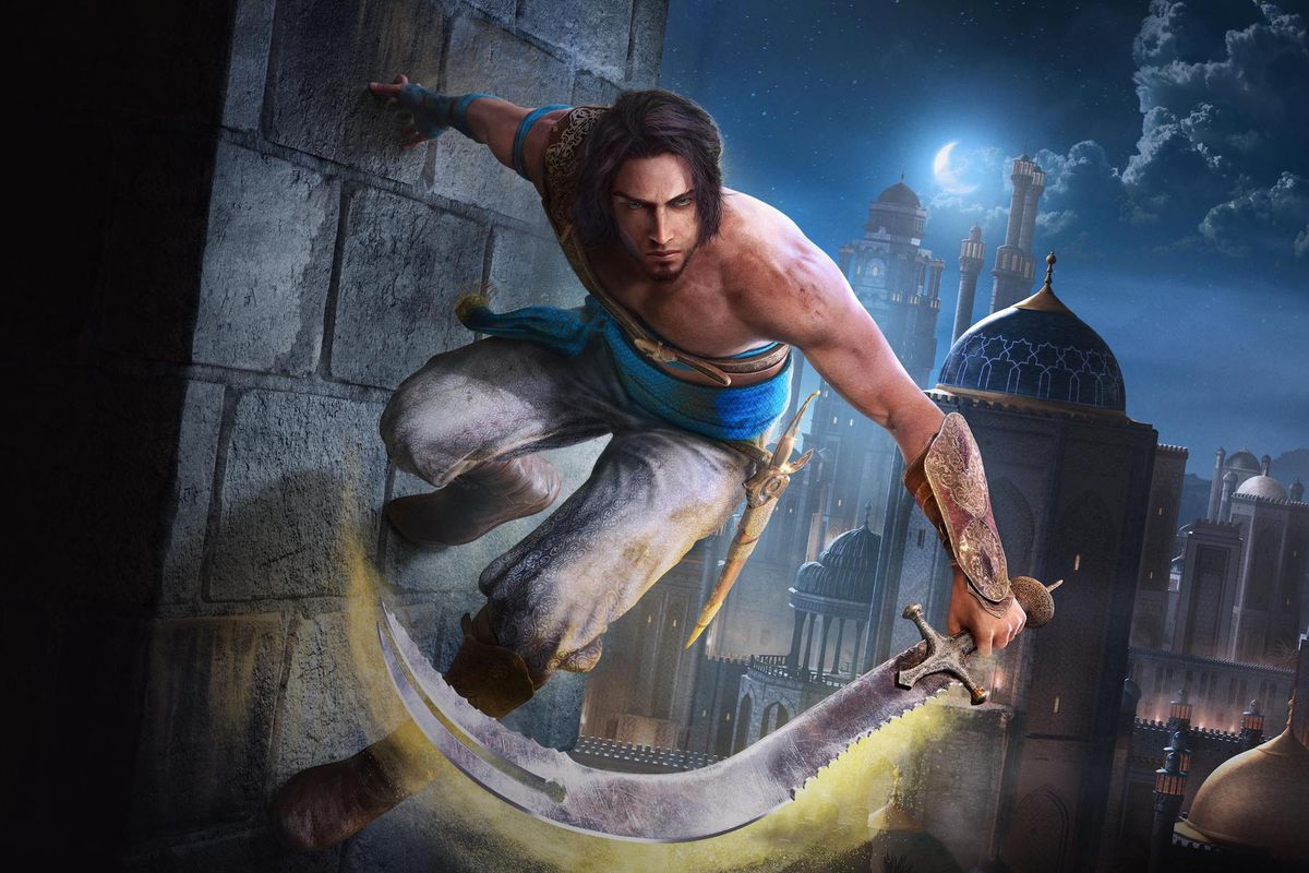 Artwork of the prince from Prince of Persia: The Sands of Time shows the main character wall-running.
