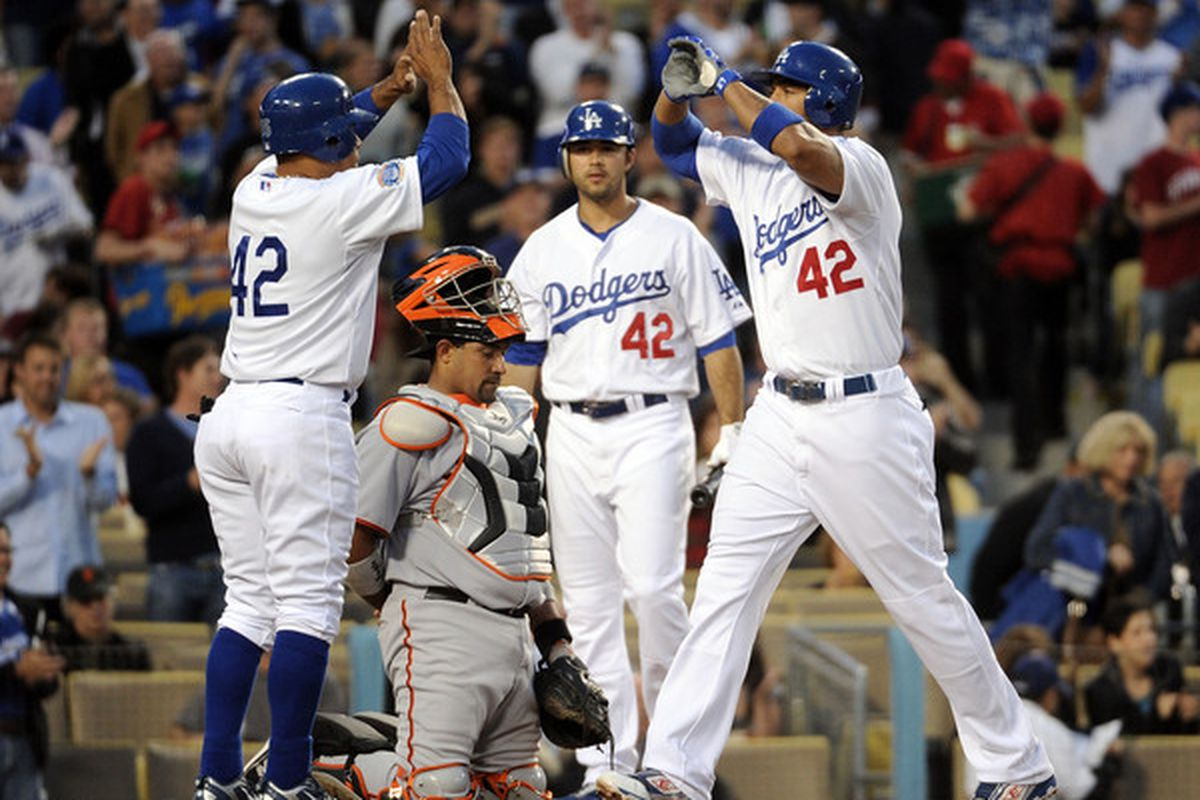 Andre Ethier, Matt Kemp, and the Dodgers have excelled on Jackie Robinson Day, with everyone wearing number 42.