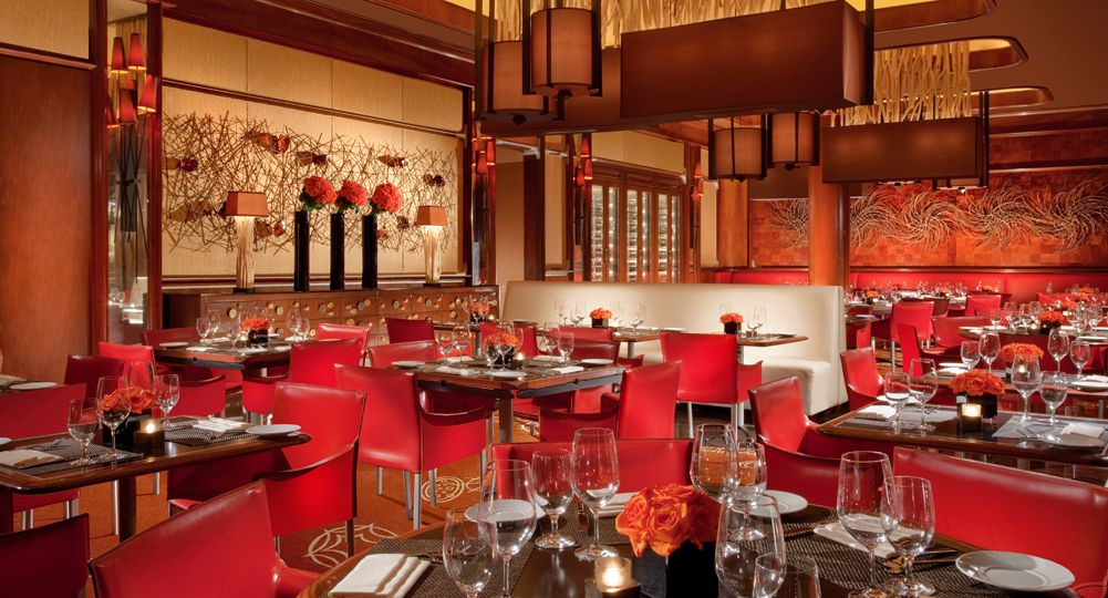 Restaurant interior with bold red accents